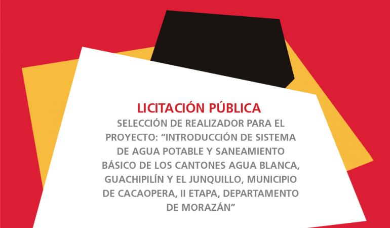 Licitación pública de introducción de sistema de agua potable en Morazán