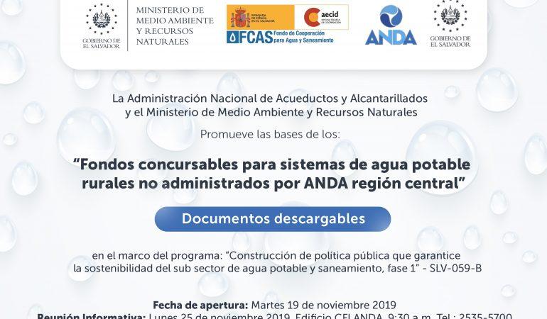 """Bases de los """"Fondos concursables para sistemas de agua potable rurales no administrados por ANDA – Región Central"""""""
