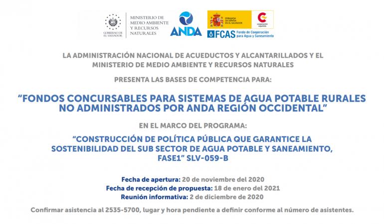 """Bases de Competencia para los """"Fondos Concursables para Sistemas de Agua Potable Rurales no administrados por ANDA, Región Occidental"""""""