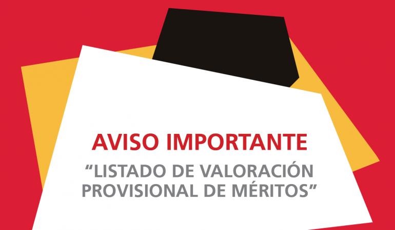 Listado de valoración provisional de méritos- Auxiliar Administrativo